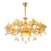 European Luxury Crystal Chandelier Zinc Alloy Candle Living Room Villa Hotel Restaurant Glass Lamps
