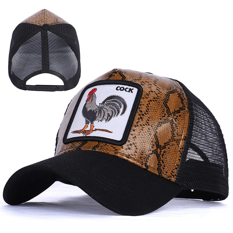 Unisex Summer Animal Picture Breathable Cotton Baseball Net Cap Men Women Hip Hop Punk Chicken Embroidery Sun Mesh Hat U17