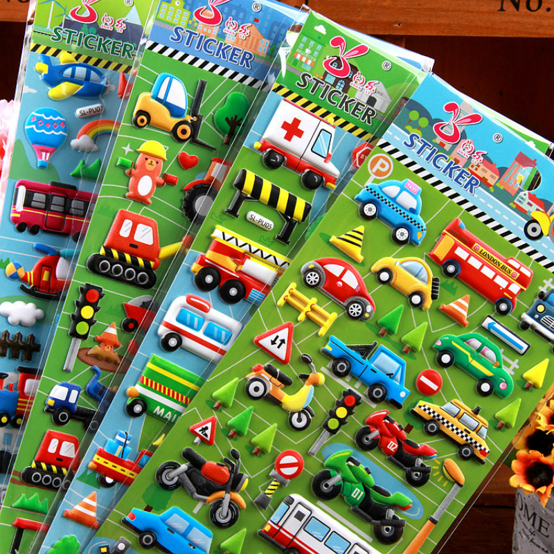4sheets 3D Car Truck Bubble Girl Boy Stickers Baby Anime Puffy Sticky For Kids Transport Funny Education Sticker LaptopToys