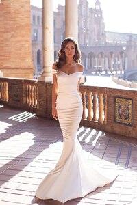 Image 2 - Smileven Mermaid Wedding Dress 2020 Off The Shoulder Silk Satin Robe De Mariee Boho Wedding Bride Gowns