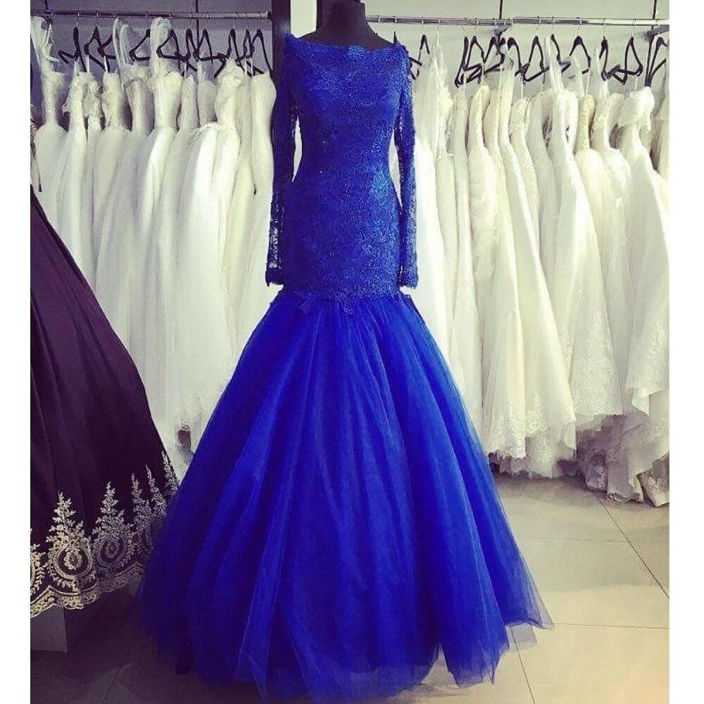 Mermaid Prom Cocktail Dresses Plus Size Arabic Muslim Evening Formal Dress Gown Long 2019