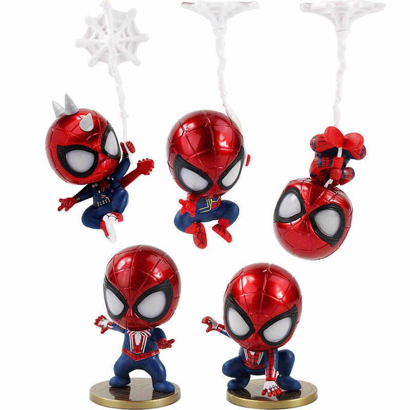 5pcs//set Cute Spiderman MIni Figure Marvel Model Doll Car or home decoration