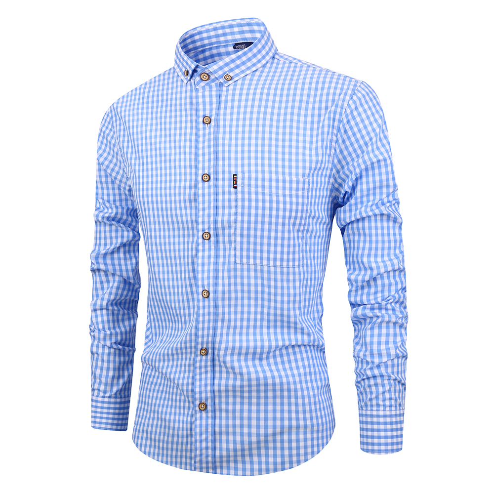 Mens Pure Cotton Shirt Plaid Long Sleeve No Fade Fashion Button Down Collar Camisa Slim Fit Design Shirts
