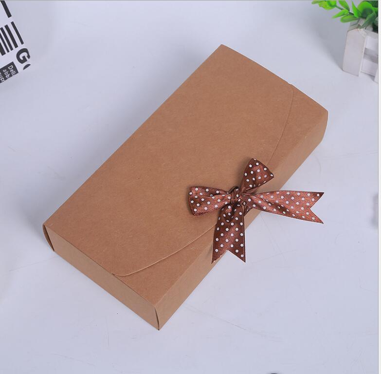 Venta al por mayor 100 Uds. Caja de regalo de papel cartón kraft caja de regalo grande para ropa/bufanda caja de papel de embalaje - 5