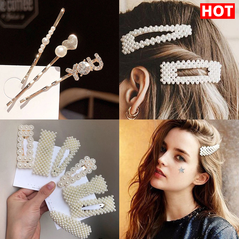 Hair Accessories Fashion Pearl Hair Pins For Women Elegant Korean Hair Clips & Pins 2020 Barrette Stick Hairpin Hair Barrettes
