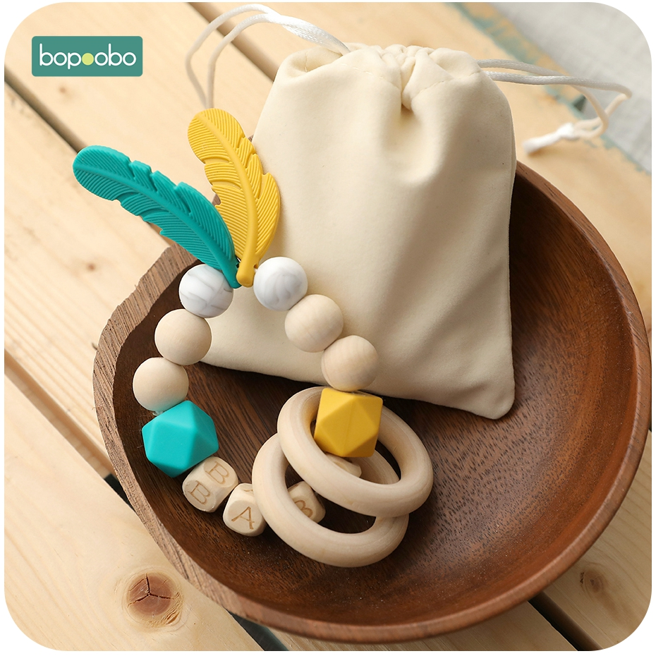 Bopoobo 1pc Baby Rattle Silicone Beads Feather Wooden Teether Tiny Rod Baby Mobile Toy BPA Free Customize Silicone Teething Toys