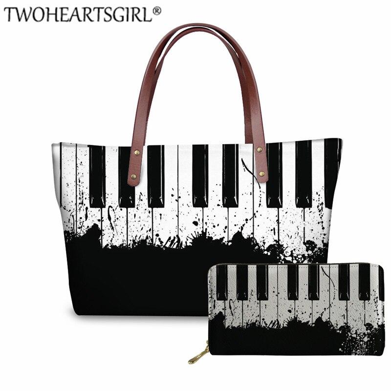 TWOHEARTSGIRL Neoprene Piano Music Bag Women Ladies Casual Shoulder Teenager Girls Top-handle Bags Female Large