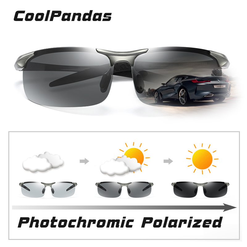2021 occhiali da sole fotocromatici senza montatura in alluminio uomo polarizzati Day Night occhiali da guida camaleonte antiriflesso gafas de sol hombre 2