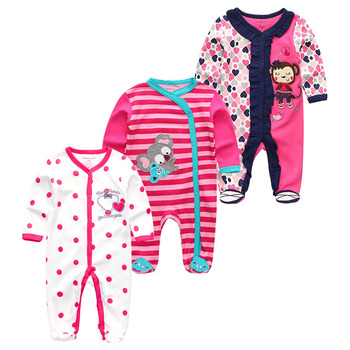 0-12Months Baby Rompers Newborn Girls&Boys 100%Cotton Clothes of Long Sheeve 1/2/3Piece Infant Clothing Pajamas Overalls Cheap - Baby Rompers RFL3711, 12M