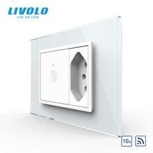 Livolo C9 US Standard 67.5 مللي متر مفتاح حائط يعمل باللمس ، 2Way جهاز التحكم عن بعد ، زجاج كريستال أبيض ، مفتاح بلاستيك ، زر ضغط ، مع قابس البرازيل