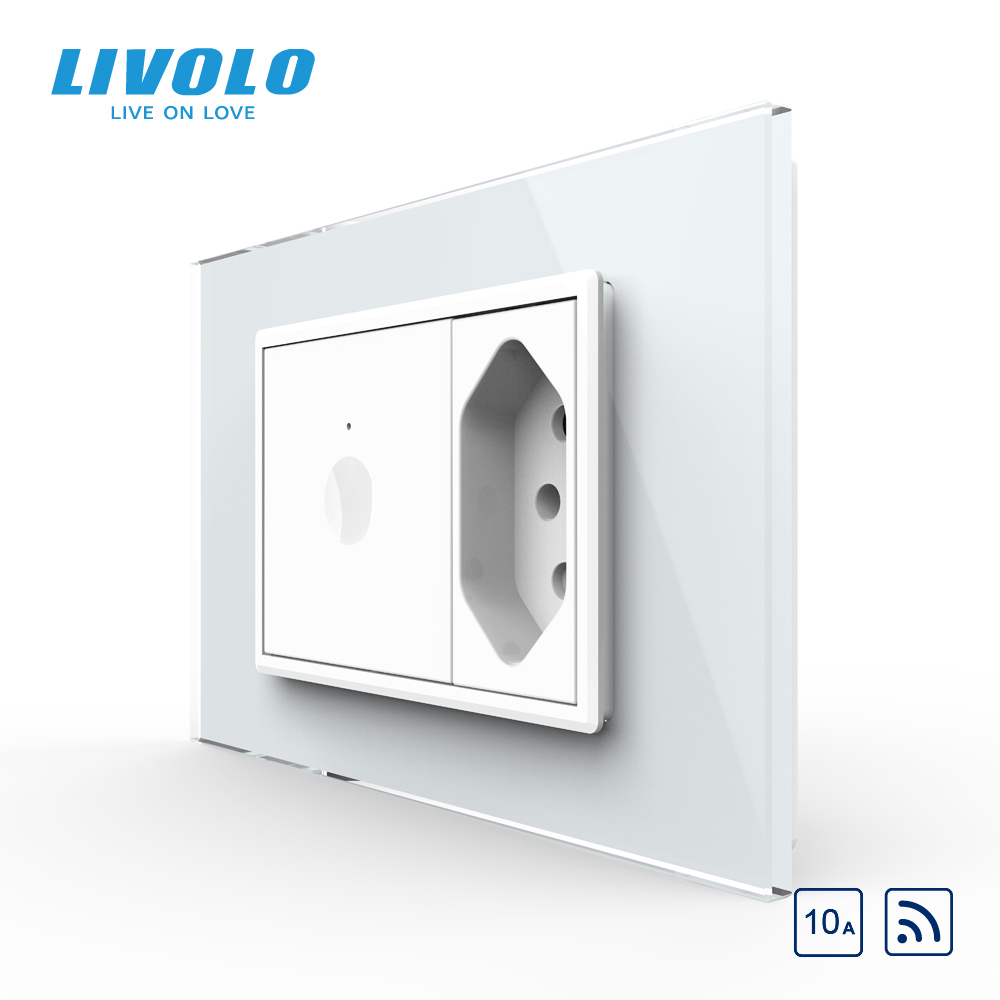 Livolo C9 US Standard 67.5mm Wall Touch Switch,2Way Remote Control,white crystal glass,plastic key,push button,with Brazil plug