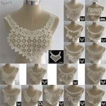 Requintado tecido de renda branca bordado applique laço decote diy tule rendas colar costura acessórios roupas artesanato suprimentos