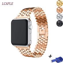 Pasek do bransoletki łączonej do zegarka apple 4 pasek correa apple watch 42mm 38 mm 44mm 40mm iwatch seria 5 4 3 2 1 metalowy pasek na rękę tanie tanio LCAPLE for apple watch band buckle Od zegarków STAINLESS STEEL Nowy bez tagów 22 cm gold silver black rose gold for apple watch 5 4 3 2 1