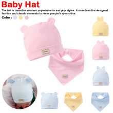 3 color eslatic headscarf double layer cotton baby caps&hats with bibs set pink yellow and sky blue for newborn infant