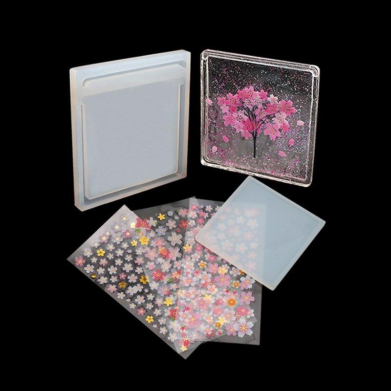 Sakura  Handmade Quicksand Epoxy Silicone Mold UV Tree Square Shape Epoxy Resin Molds Making Crafts Quicksand Model Mould Set