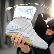 Spring Adult Basketball Shoes USB Charging LED Luminous Shoes Men Fashion Light Up Casual Men Back T
