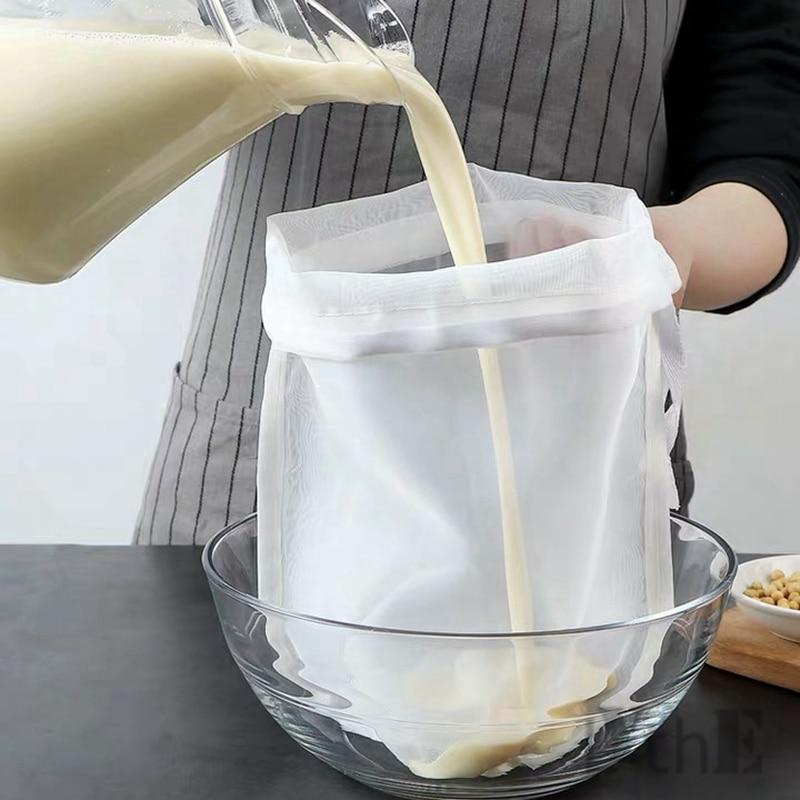 Soy Milk Wine Filter Bag Nut Milk Bag Tea Coffee Oil Yogurt Filter Net Mesh Kitchen Food Reusable Nylon Filter Bags Strainer