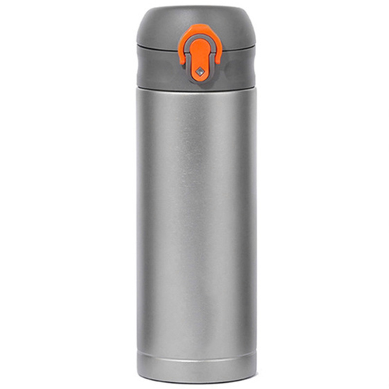 NEW-Men Gift Bottles 400Ml Insulated Cup Titanium Thermo Mug Water Bottle Vacuum Flask Coffee Wine Mug Orange+Silver