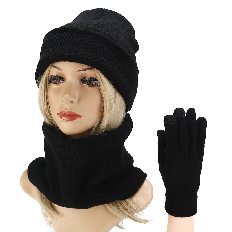 2019 Winter Hat Scarf Gloves Set For Women Men Kitted Thicken Warm Winter Hat Girl Fashion Soft Female Black Color Cap