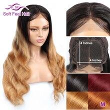Soft Feel Hair 4x4 кружева закрытие парик блонд эффектом деграде(переход от темного к человеческих волос парики для Для женщин Реми бразильские волнистые волосы парики средней соотношение