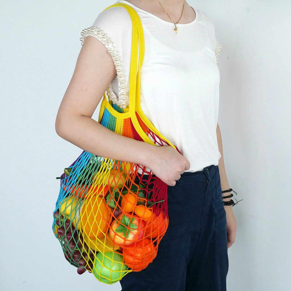 2019 New Mesh Shopping Bag Reusable String Fruit Storage Handbag Totes Women Shopping Mesh Net Woven Bag Shop Grocery Tote Bag