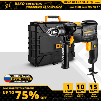 DEKO 220V Electric Screwdriver 2 Functions Electric Rotary Hammer Drill Power Tools Electric Tools(DKIDZ Series)