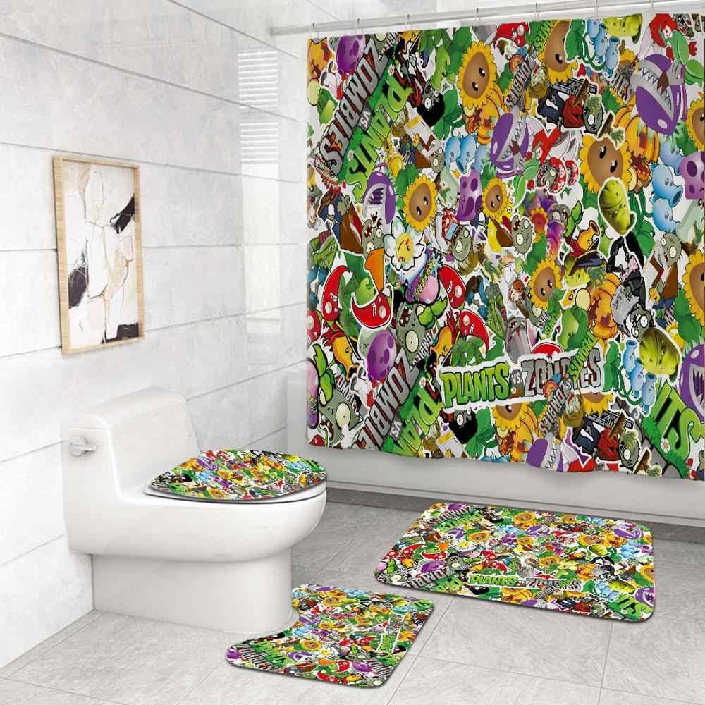 3pcs Plants vs Zombies Non-Slip Bath Mats Set U Pedestal Rug Toilet Lid Cover