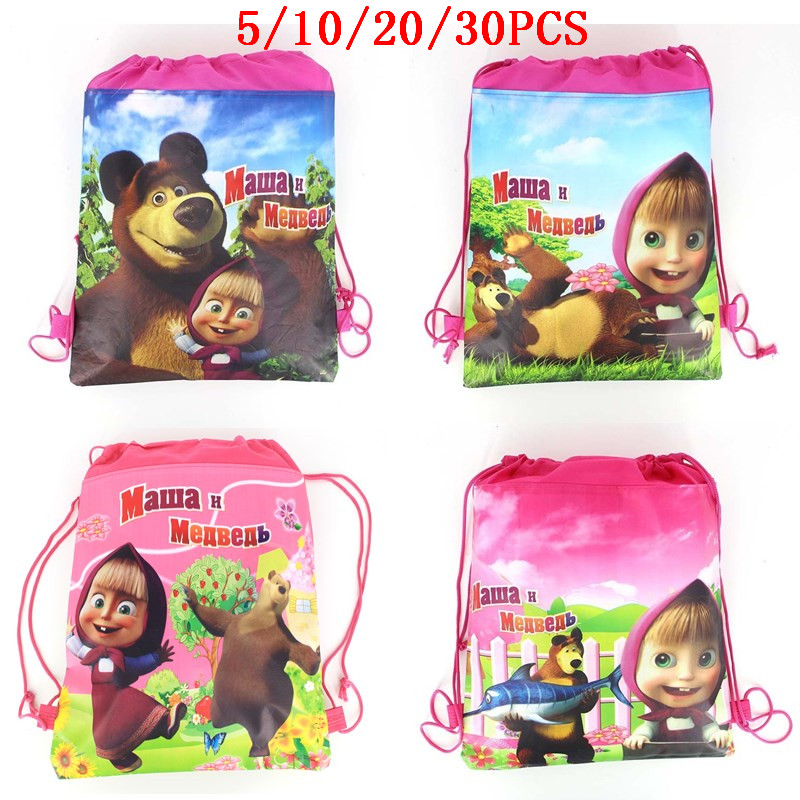 5/10/20/30PCS Masha And Bear Party Drawstring Bag For Girls Travel Storage Package School Backpacks Birthday Party Favors