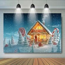 Winter Huis Kerst Achtergrond Voor Fotografie Sneeuwvlok Achtergrond Verjaardagsfeestje Nieuwe Jaar Party Decoratie