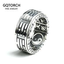 Real 925 anéis de prata esterlina para homem girador rotatable escultura taiji bagua yin yang com vintage great wall padrão