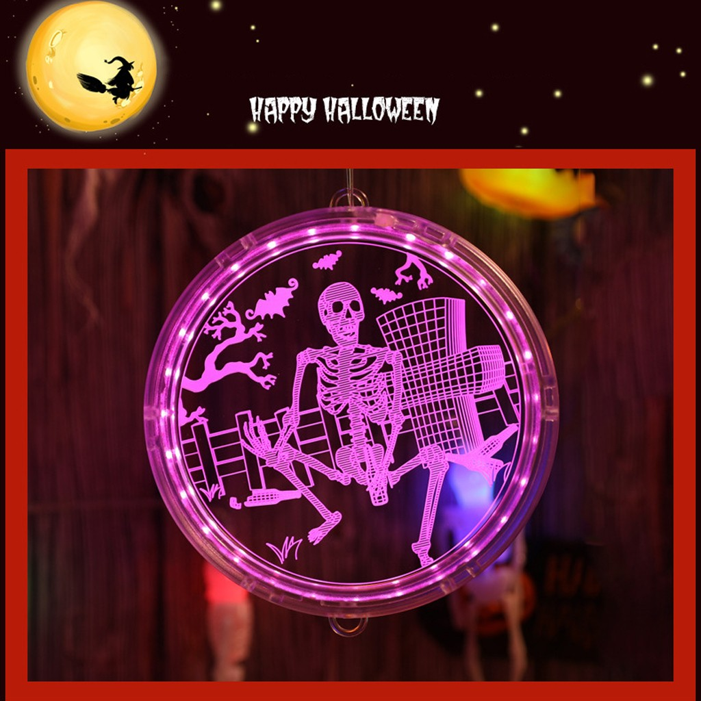 Decorative Lights Halloween Theme Trick Or Treat Pattern LED Lamp Wall Lamp Home Holiday Decoration Disc Battery Lamp #YL5