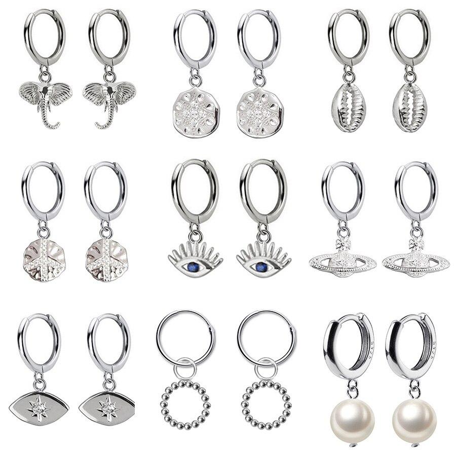 2020 New Top Small 925 Sterling Silver Hanging Stud Earrings For Women Elephant Eye Dazzling CZ Charm Small Studs Earring DA537