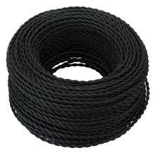 Câble électrique torsadé noir en tissu torsadé Vintage, fil de 5, 10 ou 20 mètres à 2 cœurs, cordon Flexible en soie tissée