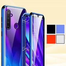حافظة زجاجية برو Realme5 لهواتف oppo realme 5pro Q 360 مزدوجة الجوانب مصنوعة من الزجاج المعدني المغناطيسي realmeQ (6.3 بوصة)