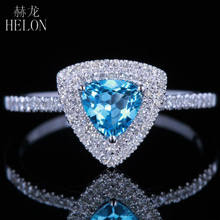 HELON 14k White Gold Flawless Trillion Cut 0.6ct ของแท้ Blue Topaz ธรรมชาติ 0.25ct (China)
