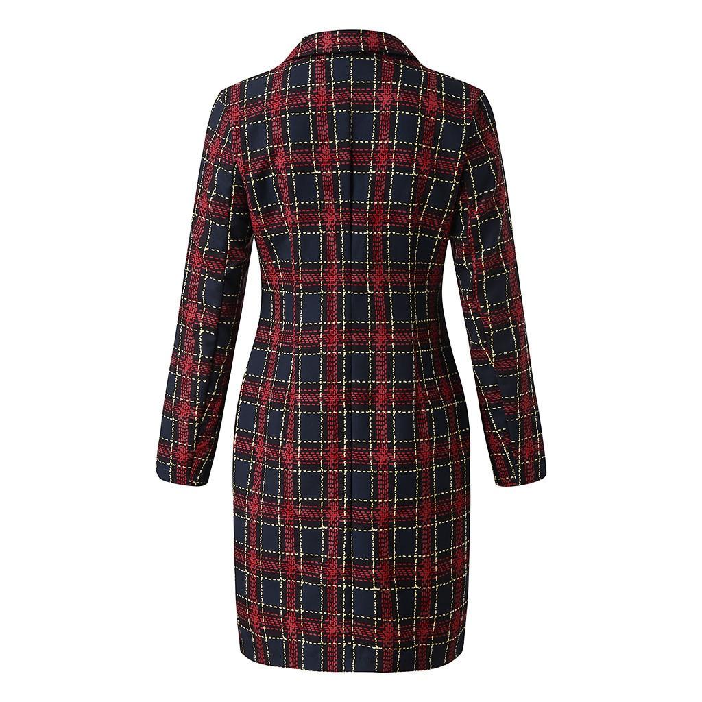 Модный костюм, женское платье-Блейзер, Осень-зима, двубортное, в клетку, с карманами, на пуговицах спереди, в стиле милитари, мини-платье, бесп...