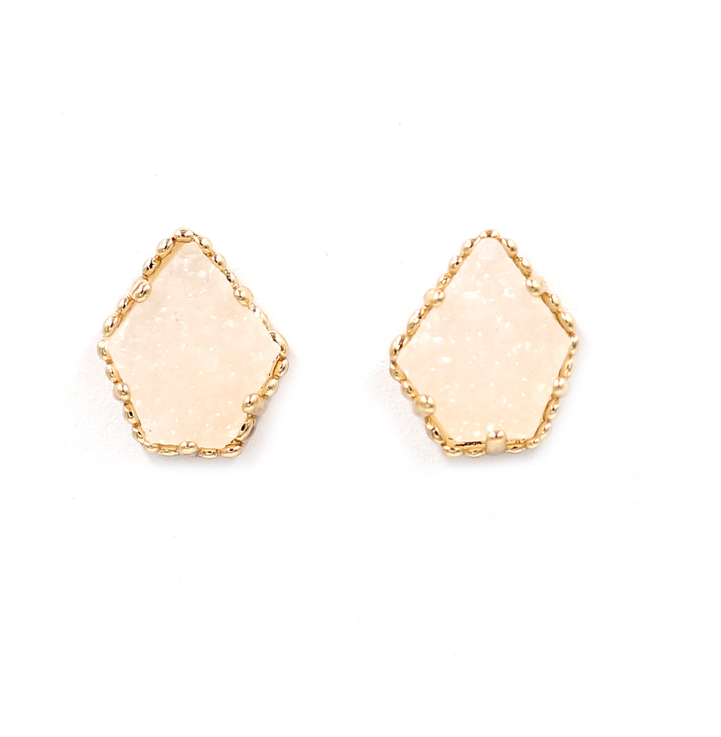 New Off White Resin Druzy Geometric Stud Earrings