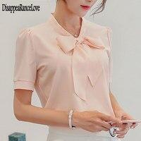 Новое поступление 2020, шифоновая женская блузка с коротким рукавом, рубашка, модная женская белая розовая офисная блузка, женская одежда