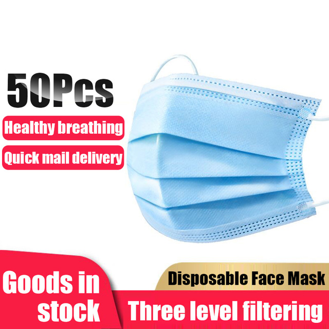 50pcs in stock.Disposable Thickened Masks.Disposable Earloops faceMasks,3-Ply High Quality,Breathable Flu Hygiene Face Mask