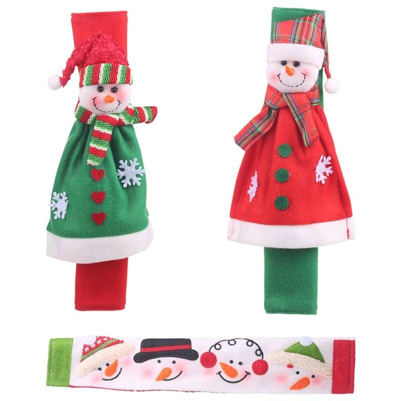 3Pcs Christmas Decoration Refrigerator Door Handle Covers Cartoon Cute Microwave Door Refrigerator Handle Sets Christmas Gift|Door Knob Covers| |  - title=