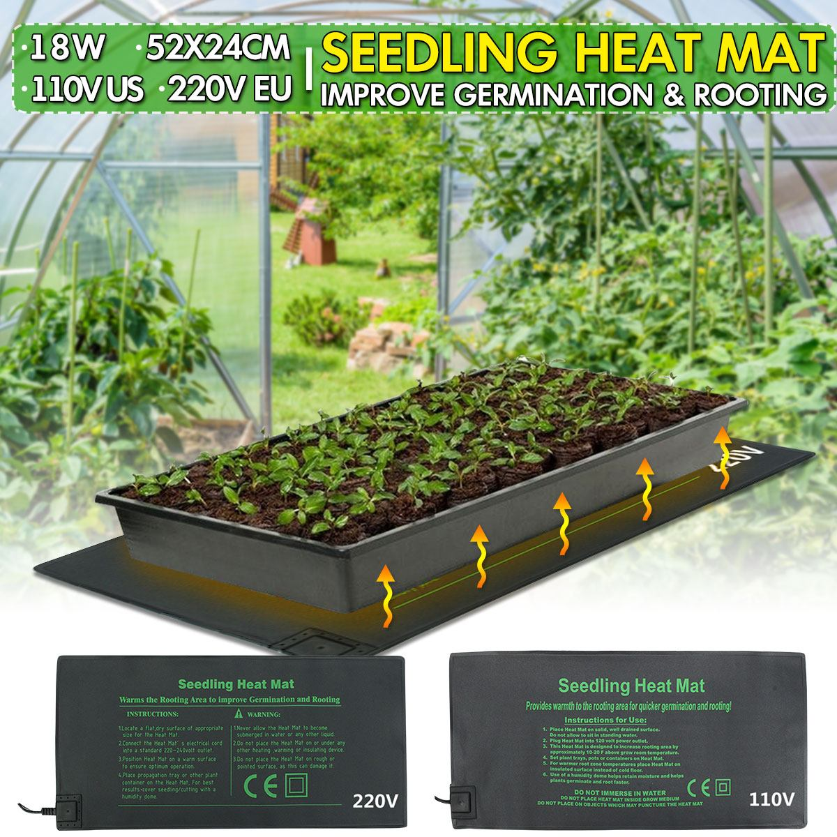 Seedling Heat Mat Plant Seed Germination Propagation Clone Starter Warm Pad Mat 24x52cm Vegetable Flowers Garden Tool Supplies