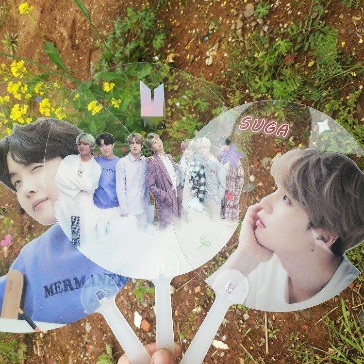 10 Pcs/lot Kpop JUNGKOOK RM SUGA JIMIN V JHOPE JIN Transparent Circular Fan Toy Gift