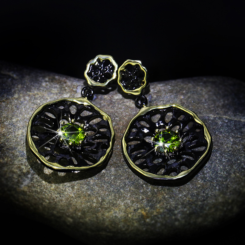Fashionable Simple Dangle Earrings for Women Black Gold Filled Tungsten Green Cubic Zirconia Vintage Drops Earrings Wedding Band