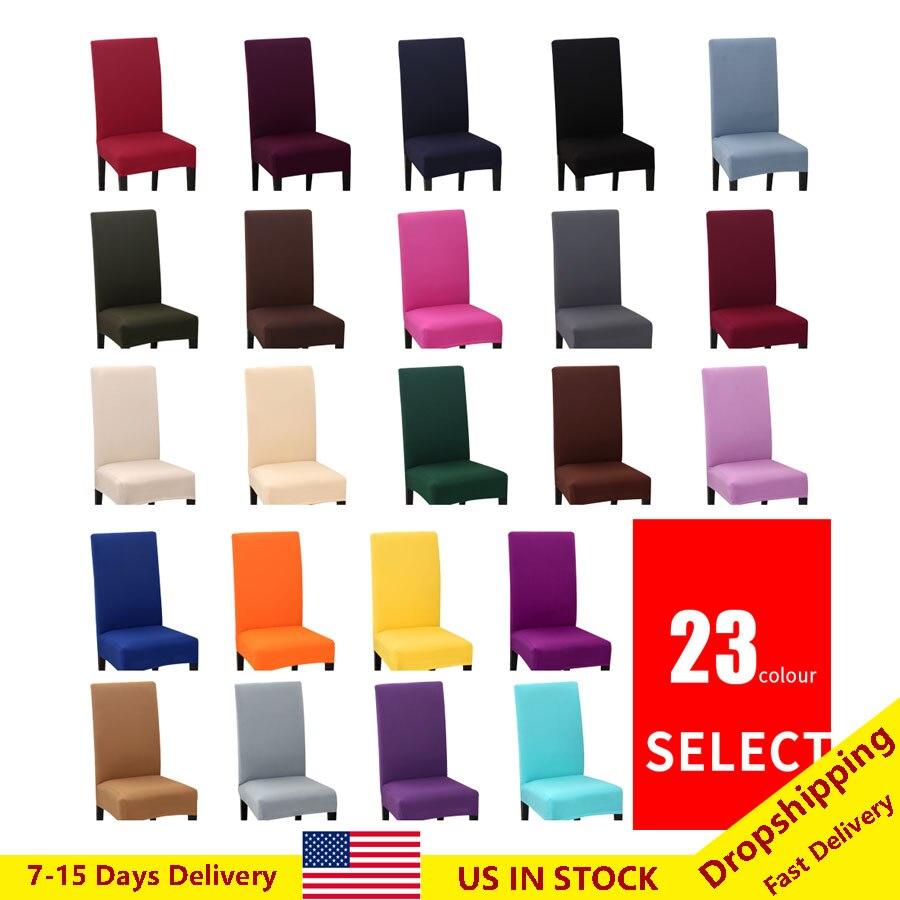 1/2/4/6 pçs cor sólida elastano jantar cadeira cobre cinza preto estiramento slipcovers universal removível houssz de chaise