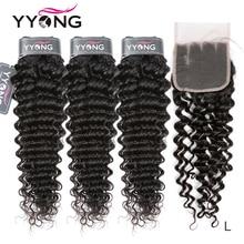YYong Hair 브라질 딥 웨이브 휴먼 헤어 3 번들 4x4 5x5 6x6 레이스 클로저 레미 브라질 헤어 번들