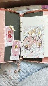 Image 5 - Captor de carte Sakura Figure daction Anime imprimé créatif papier cahier Mini dessin animé rose fermeture éclair livre couverture métal stylos cadeau poupée
