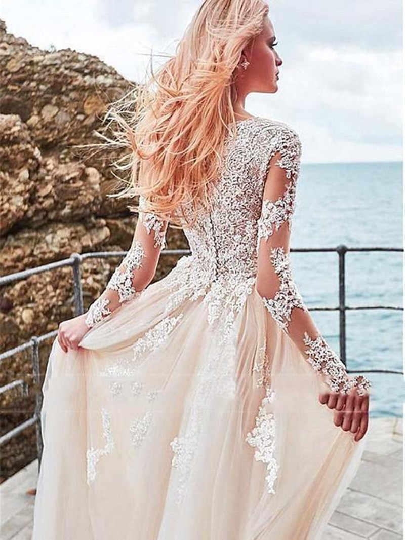 Romântico estilo praia boêmio rendas praia vestido de casamento 2020 manga longa vestido de noiva tule vestidos de casamento com decote em v vestido de noite