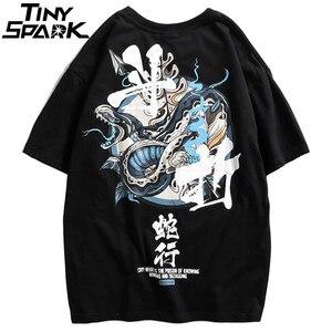 Image 3 - Женские китайские футболки со змеиным принтом, уличная одежда в стиле Харадзюку, весна лето 2020, футболки с коротким рукавом, хлопковые футболки