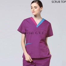 Women's Short Sleeve Scrubs Top Color Blocking V Neck Uniforms Spa Clinic Workwear Clothes Big Pockets Lab Costume Cotton