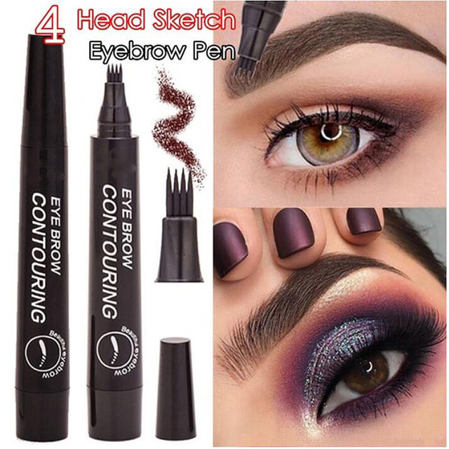 5 Colors Microblading Tattoo Eyebrow Pencil Waterproof Fork Tip 4 Head Fine Sketch Liquid Eyebrow Enhancer Dye Tint Pen TSLM2 5